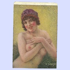 Lovely Old Paper Postcard Risque Nude Lady Signed J. Seeberger