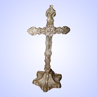 Religious Brass Metal Ware Standing Alter Cross Crucifix No Corpus