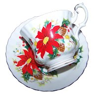 Lovely Vintage  Royal Albert Yuletide Tea Cup Saucer Set Floral