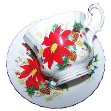 Lovely Vintage  Royal Albert Yuletide Tea Cup Saucer Set Floral