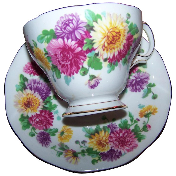 Autumn Glory Floral Flower Themed Queen Anne Fine Bone China Tea Cup ...