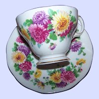 Autumn Glory Floral Flower Themed   Queen Anne Fine Bone China Tea Cup Saucer Set