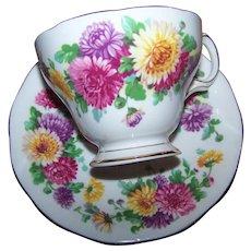 Autumn Glory Floral Flower Themed   Queen Anne Fine Bone China Tea Cup Saucer Set