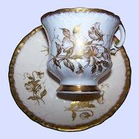 Pretty Paragon Tea Cup Saucer Set Golden Flower Pattern