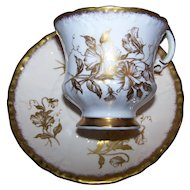 Pretty Paragon Tea Cup Saucer Set Golden Flower Pattern