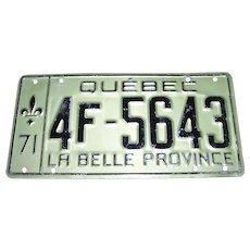 Vintage Metal Ware Souvenir License Plate QUEBEC  La Belle Province 1971