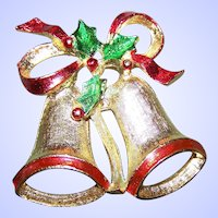 Designer Signed New View Christmas XMAS  Bells and Holly Brooch Pin