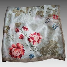 Small 21 Inch Square Vintage Designer Signed Anne Klein Scarf Mixed Floral Pattern