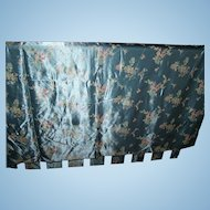 A Beautiful Piece of Vintage Material Silky Blue with Floral Oriental Themed Print