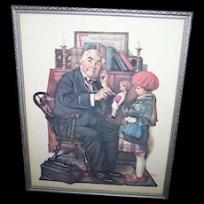 """Vintage Framed Norman Rockwell Print """"  The Doctor and the Doll """"  Curtis Publishing Company 1972 Donald ART"""