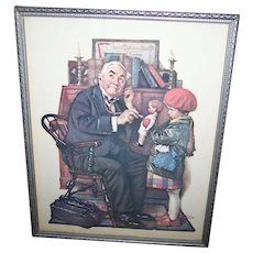 "Vintage Framed Norman Rockwell Print ""  The Doctor and the Doll ""  Curtis Publishing Company 1972 Donald ART"