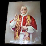 Laminated Print to Wood Board Religious Home Decor Wall Art Paulus VI PONT. MAX