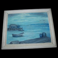 """Framed Oil Painting on Canvas Panel Titled """"Peggy's in Blue """" Artist Signed Peggy's Cove Nova Scotia"""