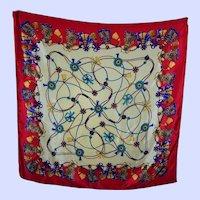 Luxurious  Decorative Designer Signed  ALBERT NIPON Silk Scarf  Tassel Bow Pattern