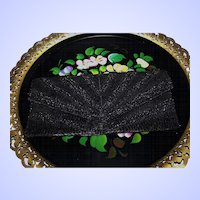 Vintage Black Glass Bead Clutch Style Purse Evening Bag