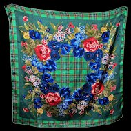 Lovely Emanuel Geraldo Designer Plaid Floral Large Fashion Scarf