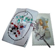 Faceted Glass Bead Prayer Rosary Beads with Prayer Card and Instructions Italy