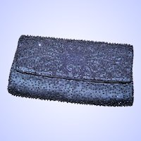 Pretty Gently Used Clutch Glass Black Bead Satin  Purse OH So Pretty