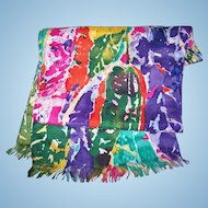 Crazy Dye Spatter Art Pattern Long Rectangular Ladies Silk Fashion Scarf Wearable ART