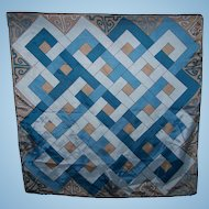 An Interesting Vintage Scarf  Geometric  Art Deco  Style Print Rolled Edge Wearable Art