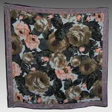 Large Designer Signed Perry Ellis Floral Pattern Ladies Fashion Scarf