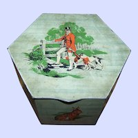 Vintage Tin Litho Advertising  Peek Frean England Cookie  Biscuit Box Canister Tin   Hunting  Rabbit Dog Duck Theme
