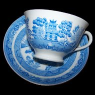 Blue Willow New Years Motto Ware Cup & Saucer Tak A CVP O Kindness