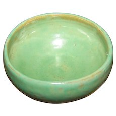 A Beautiful Small Green Studio Pottery Bowl Artist Signed