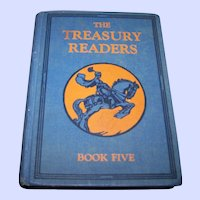"Vintage Children's School Illustrated Text Book "" The Treasury Readers ""Book Five"