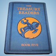"""Vintage Children's School Illustrated Text Book """" The Treasury Readers """"Book Five"""