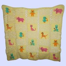 Sweet Vintage Crochet Baby Blanket Uni-Sex Animal Motif
