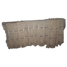 A Exceptional Hand Crochet Large Bedspread Blanket with Fringes