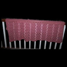 Pretty Gently Used Vintage Salmon Pink  Hand Crochet Small  Blanket Coverlet