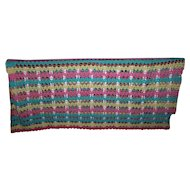Pretty Hand Crochet Yellow Pink and Aqua Blue Blanket Bed Spread