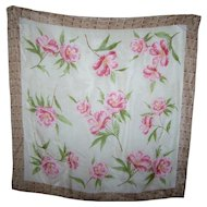 A Delicate Vintage Small Pink Flower Pattern Ladies Silk Fashion Scarf Wearable ART