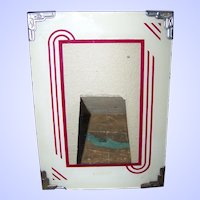 Deco Era Style Reverse Painted Glass Photo Picture Frame Easel Back