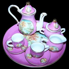Beautiful Vintage Collectible Miniature or small Child's Tea Set Transfer Scene