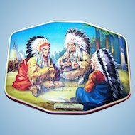 """Collectible Vintage Horner Tin Litho  Box """" Smoking the Pipe of Peace """"  Native American Indian Scene"""