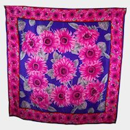What A Pretty Pink Flower Pattern Designer Signed Adrienne Vittadini Silk Scarf Wearable ART