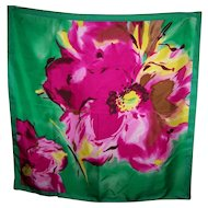 A Pretty Talbots 100 % Silk Ladies Fashion Scarf Floral Pattern