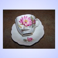 Vintage Taylor & Kent Pink Water Lily Tea Cup & Saucer