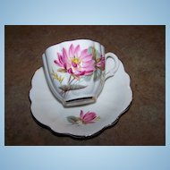 Vintage Taylor & Kent Pink Water Lily Tea Cup & Saucer