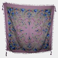 A Beautiful Gently Used Floral Shawl with Tassels Oh So Pretty
