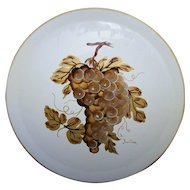 Mid-Century Era  Hand Painted Artist Signed Metal Ware Serving Tray by Nashco Products of New York Grape Motif
