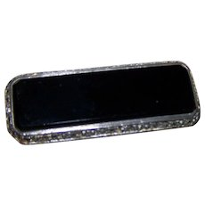 Lovely Old Chunky Black Onyx Marcasite Sterling Silver  Brooch Pin Stamped 925