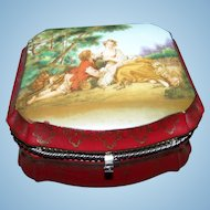 """Lovely Vintage Hinged Jewelry Casket Box  Romantic Scene By F. Boucher The Musette """""""