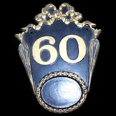 Decorative Cast Metal Ware House Number Address Street Sign Plaque  Number 60