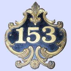 Decorative Cast Metal Ware House Number Address Street Sign Plaque Number 153