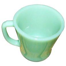 Fire King Anchor Hocking   Made In USA D Handle Jadite Green Glass  Mug
