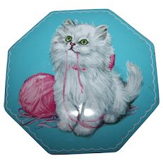 Vintage 1960s Decorative Candy Cat Tin Made In England Octagonal Shape